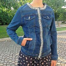 Giubbino Jeans Con Collo Elasticizzato Giacchino Perle e Strasse Lunghezza Media