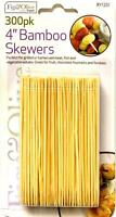 300 x BAMBOO SKEWERS Wooden Kebab BBQ Fruit Chocolate Fountain Fondue Stick 4""