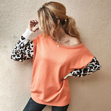 Women Knitted Cropped Sweater Leopard Print Long Sleeve Pullover jumper TopsLBE
