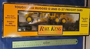 MTH Railking 30-7673 CATERPILLAR Flatcar ERTL Diecast Motor Grader  MINT in Box!