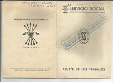 B9A-CARNET CARTILLA LIBRETA FALANGE BARCELONA SERVICIO SOCIAL ,CON SELLOS,UNO 5P