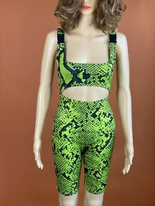 Pretty Little Thing PLT Black Neon Green Snakeskin Buckle Strap Cutout Romper 6