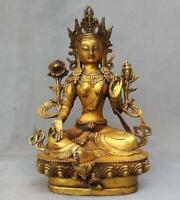 "12"" Tibet old Buddhism Bronze gilt green tara GuanYin Bodhisattva Buddha statue"