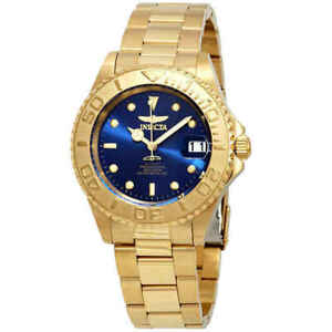 Invicta Pro Diver 26997 Automatic Gold Plated Blue Dial Men's Watch $595 MSRP