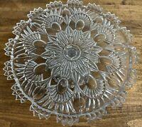"Vintage Shannon of Ireland Czech Daisy Floral Cut Crystal 12.5"" Tea Cake Stand"