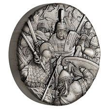 WARFARE-ROMAN LEGION 2oz silver coin antiqued with 3D 360 * view Tuvalu 2018