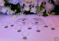 10 x Piece Wine Glass Charms Top Table Bride and Groom Wedding Day Crystal set