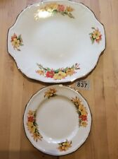 Vintage Alfred Meakin 1930s Cake Plate & Square Side Plate Orange Yellow Floral