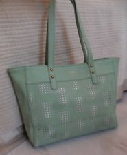 Fossil Audri Winter Green Perforated Tote SHOPPER Bag