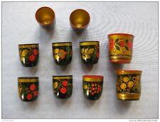 service à 10 petits verres en bois peint pour digestif