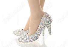 Crystal Iridescent Sparkly Bridal High Heel Wedding Bridesmaid Prom Shoe bling