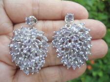 Natural AMETHYST Stones Sterling 925 Silver EARRINGS BIG HUGE Fruit Design