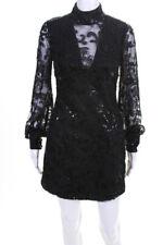 Alexis Womens Franciska Beaded Long Sleeve Mini Dress Black Size Small
