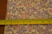 "By-the-Half-Yard, 44"" Wide, Vintage Peach & Purple Floral on Pink Cotton, M4064"