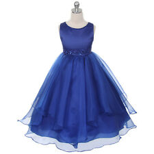 Royal Blue Flower Girl Dresses Wedding Bridesmaid Formal Recital Birthday Party