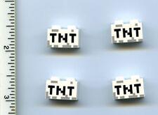 Minecraft LEGO x 4 White Brick 1 x 2 with Black 'TNT' Pixelated Pattern NEW