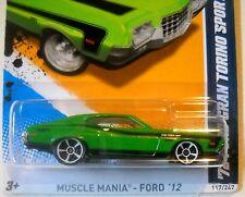 2012 Hot Wheels MUSCLE MANIA FORD #117 * '72 FORD GRAND TORINO SPORT * GREEN MC5