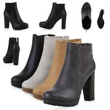 Damen Ankle Boots Plateau Stiefeletten Zipper Holzoptikabsatz 78971 Schuhe