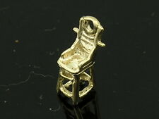C065 Genuine 9K Solid Yellow Gold Detailed Baby High-Chair 3D Charm + jumpring