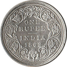 1862 India (British) 1 Rupee Large Silver Coin KM#473.1