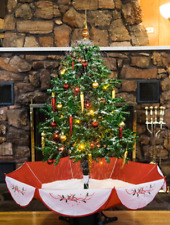4.5' Snowing Christmas Tree Red Base comes with Led Lights & Decorations