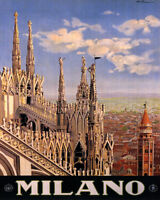 POSTER DUOMO DI MILANO MILAN CATHEDRAL ITALY TRAVEL VINTAGE REPRO FREE S/H