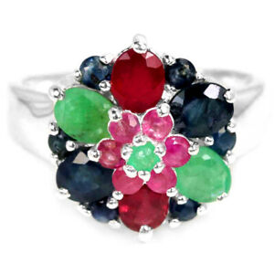 REAL GREEN EMERALD, BLUE SAPPHIRE & RED RUBY STERLING 925 SILVER FLOWER RING 8.5