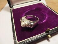 Bezaubernder 925 Sterling Silber Ring wie Diamant Designer Perle Matt Glänzend