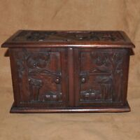 Vtg Asian Philippines Hand Carved Wood Jewelry Box Chest 5 Drawers Indonesian