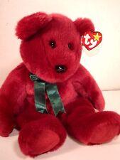 "TY  ""CRANBERRY TEDDY"" COLLECTIBLE BEAR BEANIE BUDDIES 15"" Stuff Plush Animal"