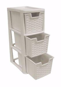 3 Drawer Rattan Style Plastic Small Mushroom Tower Storage Unit for School Home