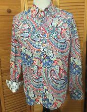 Robert Graham Long Sleeve Button Front Shirt WILD Paisley Red Blue Flip Cuff XL