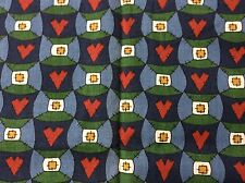 BLUE AND GREEN HEARTS AND PATCHWORK FABRIC  BY THE YARD