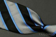 "GIANNI VERSACE Vintage VTG Blue Striped Medusa Head 100% Silk Luxury Tie - 4.00"""