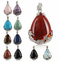 Women Natural Quartz Crystal Stone Teardrop Healing Gemstone Necklace Pendant BN