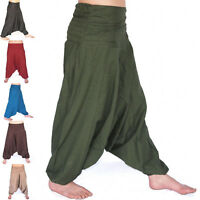 INDIAN BAGGY GYPSY HAREM PANTS YOGA MEN WOMEN GIFT SOLID PLAIN COTTON TROUSER