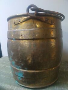 """Large vintage brass barrel effect bucket with handle - 13"""" high"""