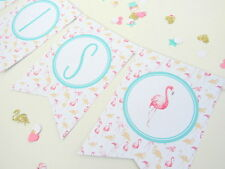 Pink & Gold Glitter Flamingo Personalised Bunting.First Birthday/Hen Do/Party