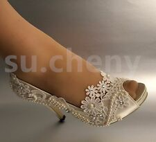 "su.cheny 3"" 4"" heel satin white ivory lace pearls open toe Wedding bridal shoes"