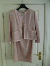 JOSEPH RIBKOFF Ladies 2-Piece Bouclé Jacket & Dress Set In Pink Size UK 14/FR 42