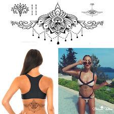 Mandala Temporary Tattoo Large Henna Arabic Underboob Back Chest Body Art Womens