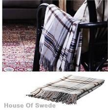 IKEA Throw Rug Plaid Brown Beige Knee Blanket Bed Couch Sofa Hermine 20% Wool