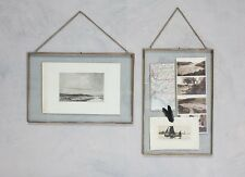 Gigantic Brass Picture Photo Frame Landscape Nkuku Kiko Clear Glass Double Sided