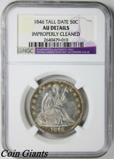 1846 Tall Date Seated Liberty Half Dollar NGC AU Details Toning Silver 50c Coin