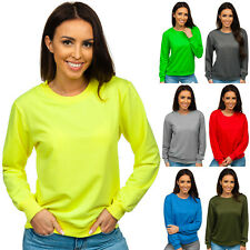 Sweatshirt Pullover Pulli Rundhals Classic Unifarben Sport Damen