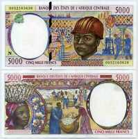 CENTRAL AFRICAN STATE GUINEA 5000 5,000 FRANCS 2000 P 504 Nf AUNC ABOUT UNC