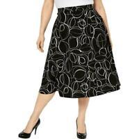 Alfani Women's Skirt Black Size 12 A-Line Abstract Print Slip on Midi $59 #100