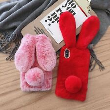 Autumn Winter Warm Fluffy Bunny Rabbit Fur Plush Soft Shell Case Cover For Phone