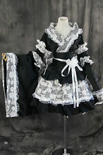 a-073 WA QI LOLITA KIMONO blanc noir Cosplay Costume Robe Faite Sur Mesure