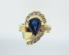 Natural Pear Blue Sapphire Diamonds Solid 18k Yellow Gold Ring Fine Jewelry